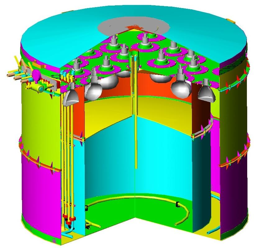 Первый промышленный детектор антинейтрино, трёхмерная модель